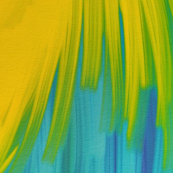Detalle obra con trazos de colores amarillos y azules