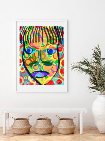 Cara abstracta de colores con brochazos de pintura