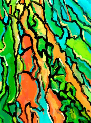 Gotas de pintura simulando un bosque