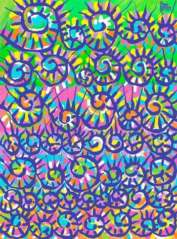 Cuadro abstracto en tonos violetas de suances obradoiro