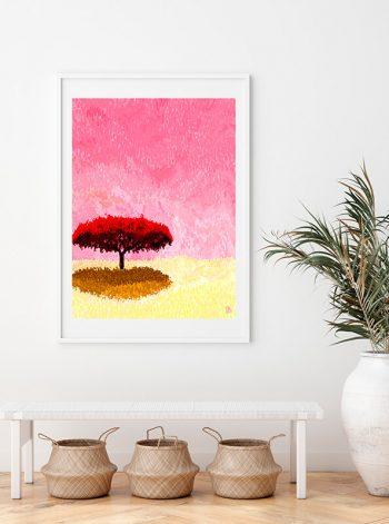 Cuadro de un árbol como pieza decorativa