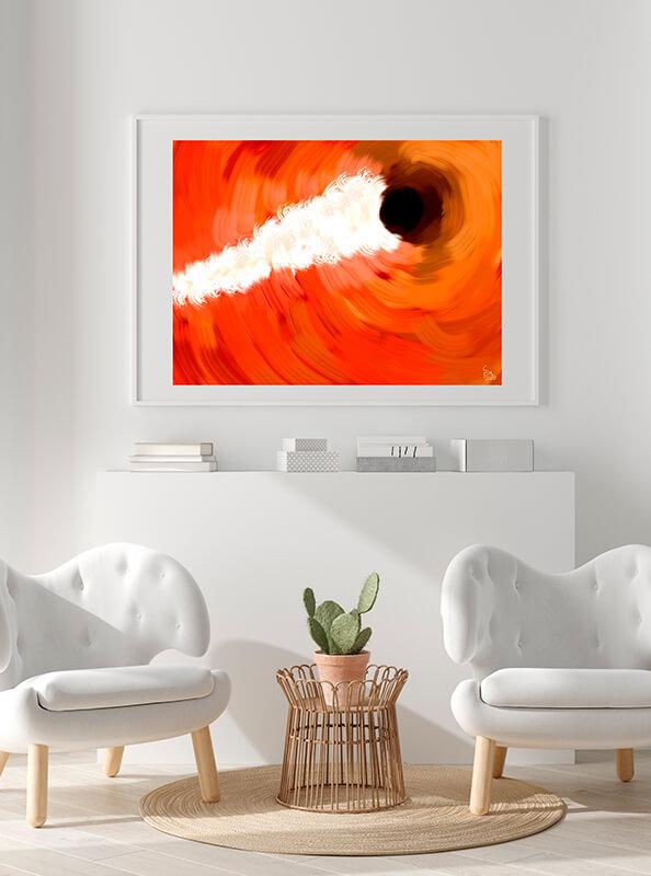 Pintura enmarcada en un cuadro blanco