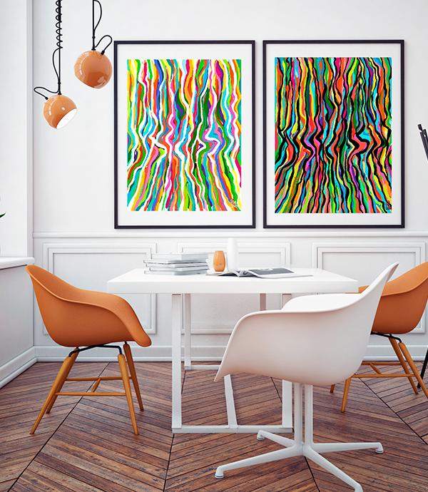 Colección Bimbios cuadros abstractos decorativos y coloridos