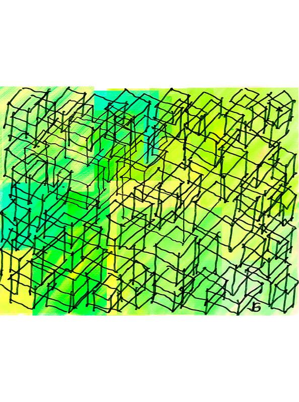 Cuadro abstracto colmena