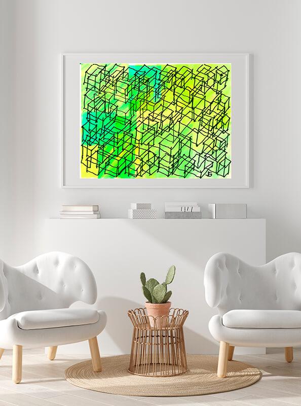 Cuadro abstracto como punto de decoración