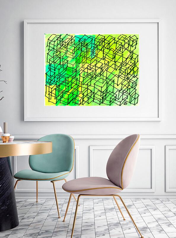 Obra de arte abstracta con verdes y amarillos