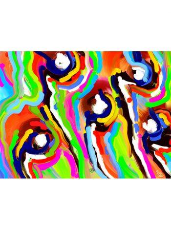 Pintura con líneas de colores