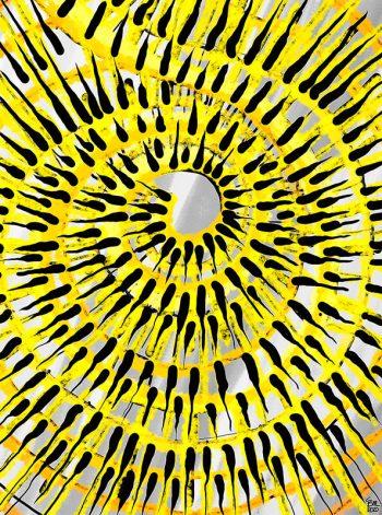 Cuadro espiral en amarillos y negros de Javier Suances
