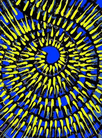 Obra digital en azules y amarillos