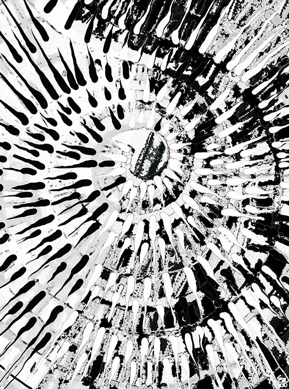 Helicoide en blanco y negro