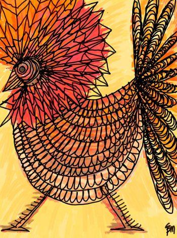 Gallo en tonos rojos y naranjas
