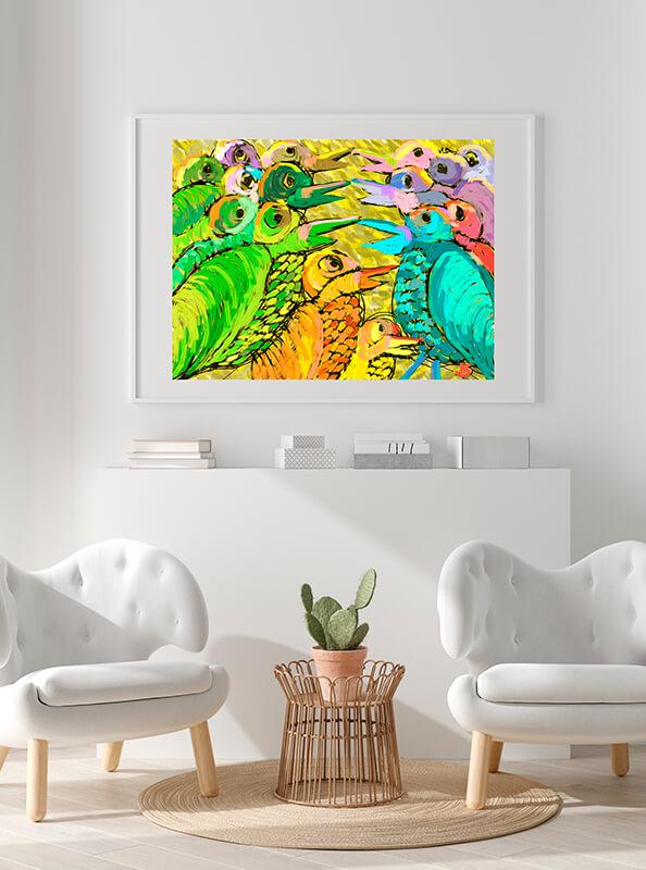 Espacio con dos sillones y un cactus con cuadro de vivos colores