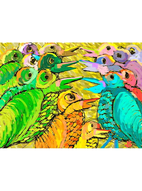Pintura de pájaros charlando