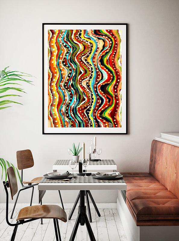 Decoración con cuadro abstracto multicolor