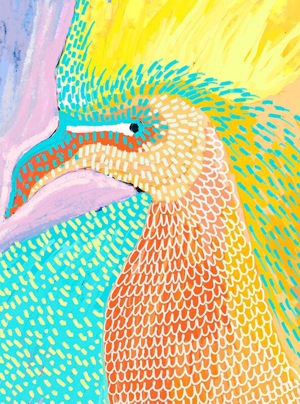Pintura de un pájaro