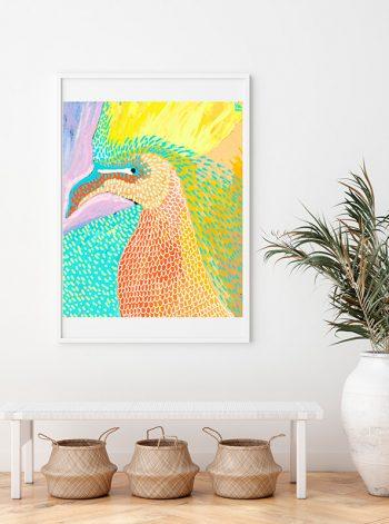 Cuadro de un pájaro de vivos colores