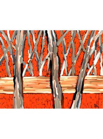 Cuadro de árboles sobre fondo rojo