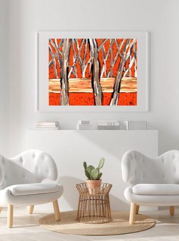 Pintura enmarcada en cuandro de madera con paspartú