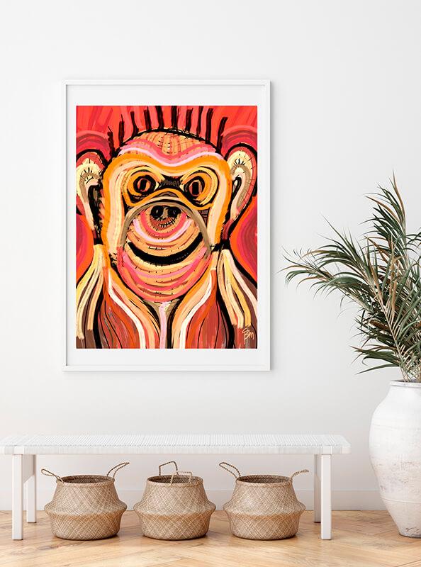 Obra fine art de un mono en un muro
