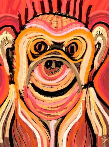 Mono con trazos de pintura en tonos rojos y amarillos de Suances Obradoiro