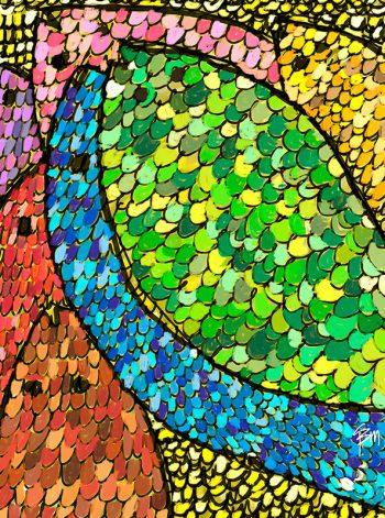 Representación abstracta de peces y escamas