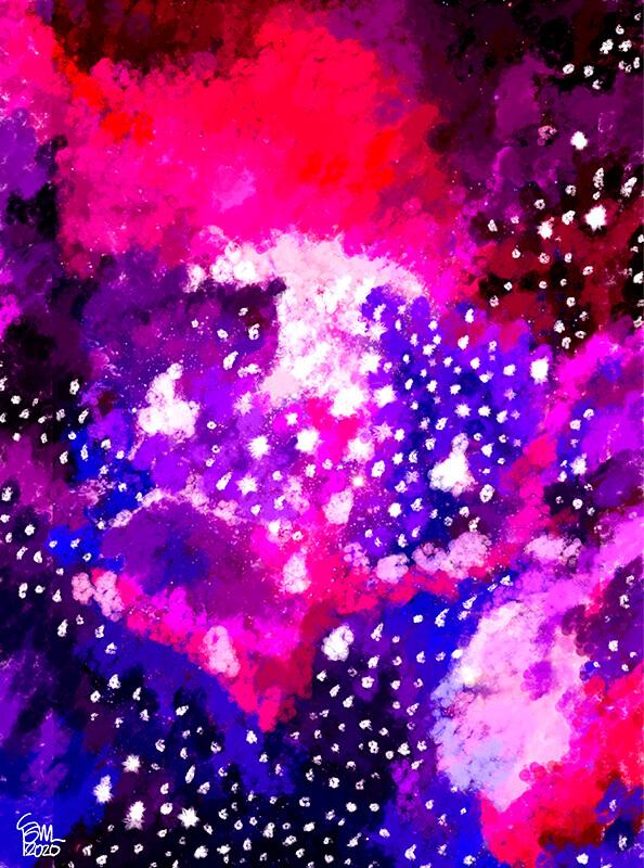 Estrellas de pintura en colores violetas