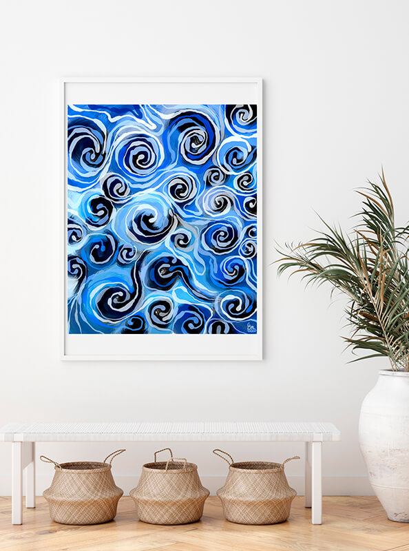 Obra azules enmarcada