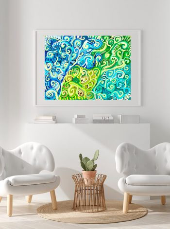 Lámina de arte colgada de una pared