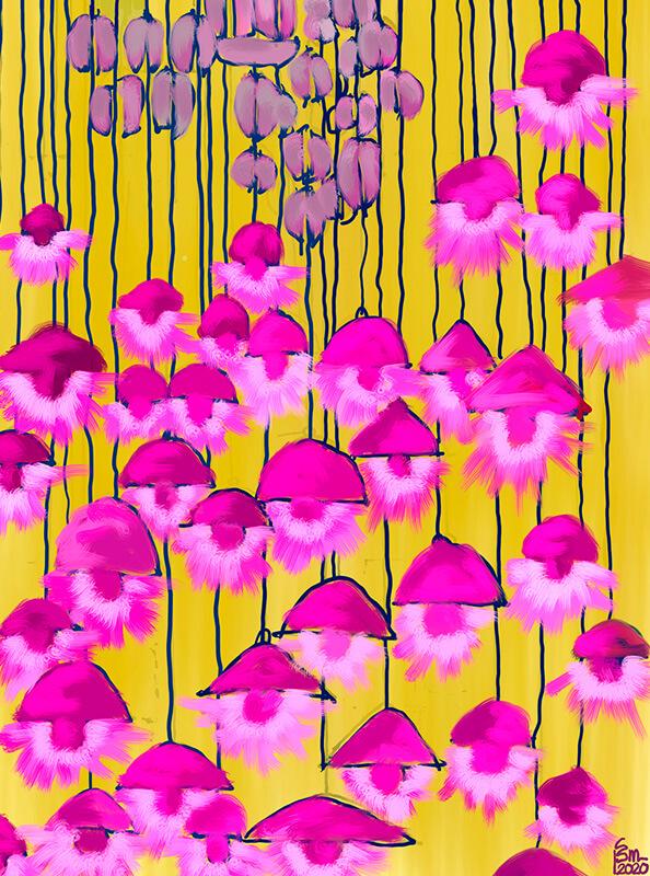 Obra original y limitada de flores cayendo