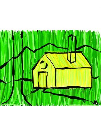 Pintura de una casa pintado digitalmente