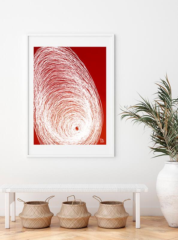 Lámina enmarcada roja y blanca