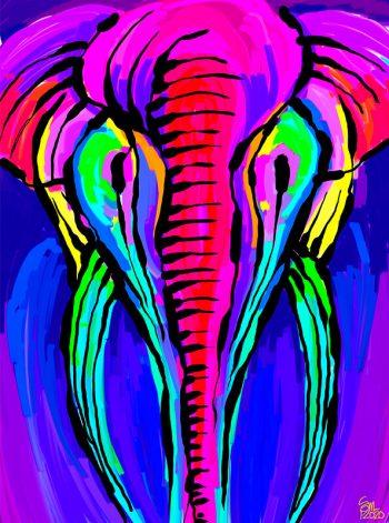 Pintura de un elefante de colores