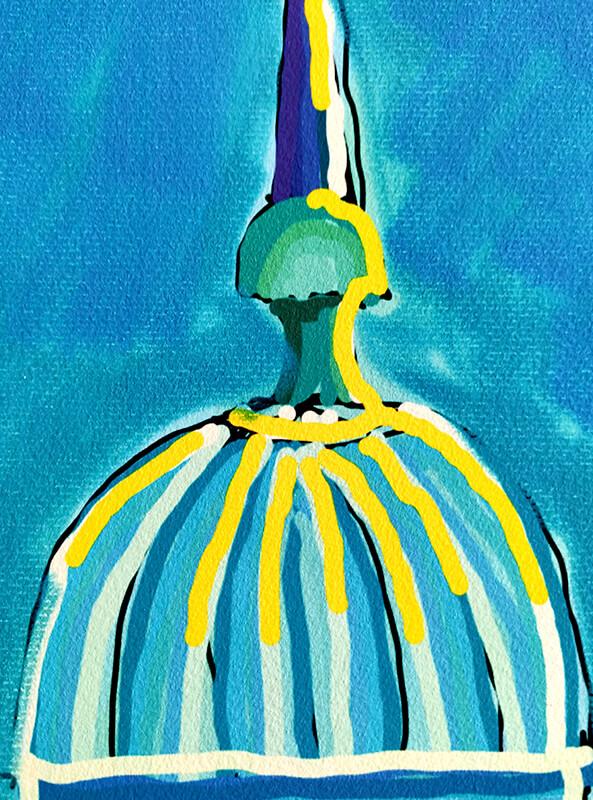Detalle del Papel Hahnemühle con colores azules