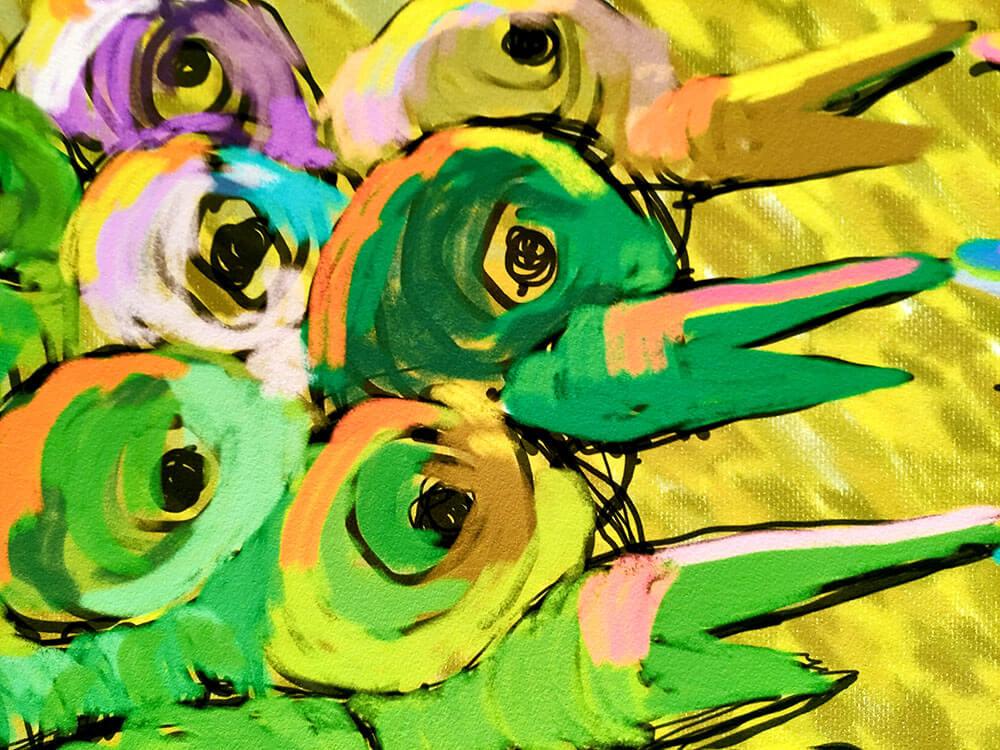 Pintura de pájaros abstracta